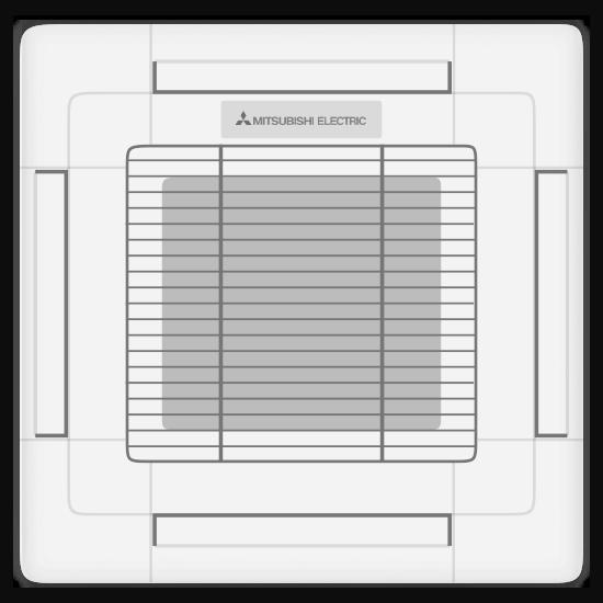 Mitsubishi ceiling cassette / suspended indoor unit.