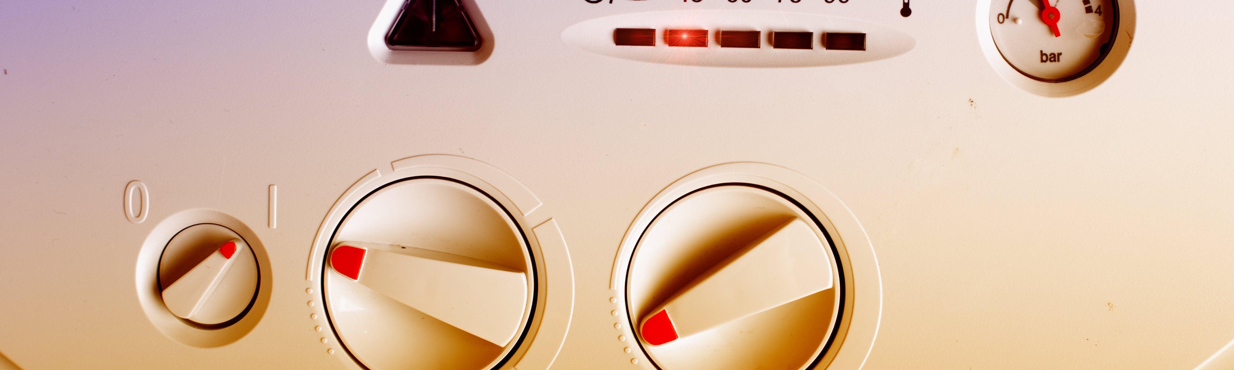 Gas boiler controls close up.
