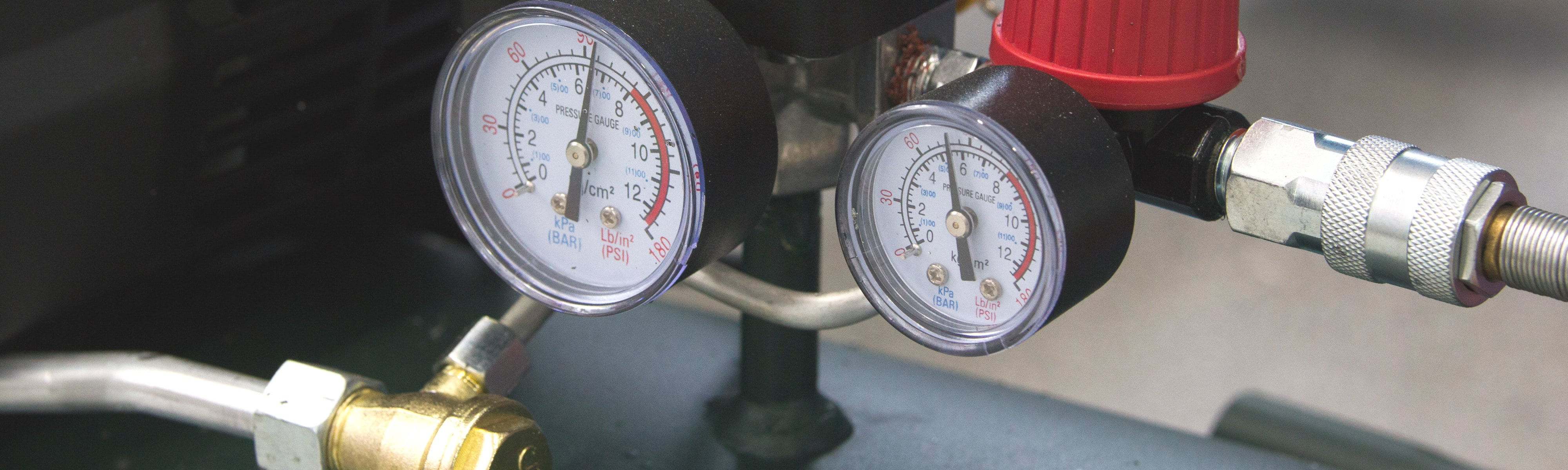 Maintenance gauges for heating and cooling equipment.