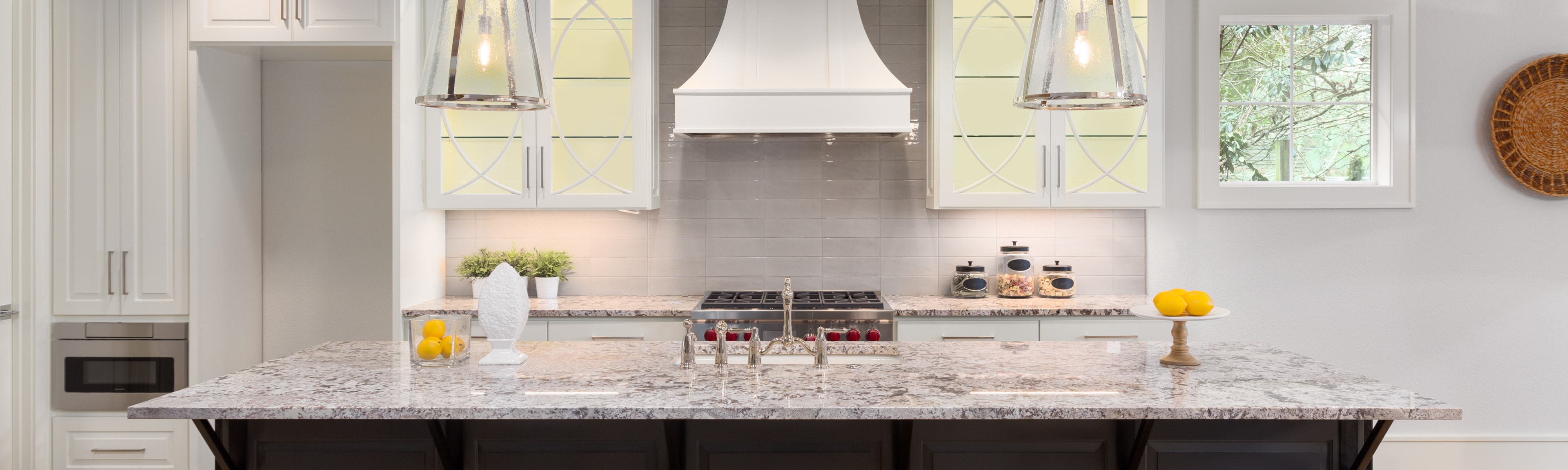 Upscale kitchen with well ventilated air.