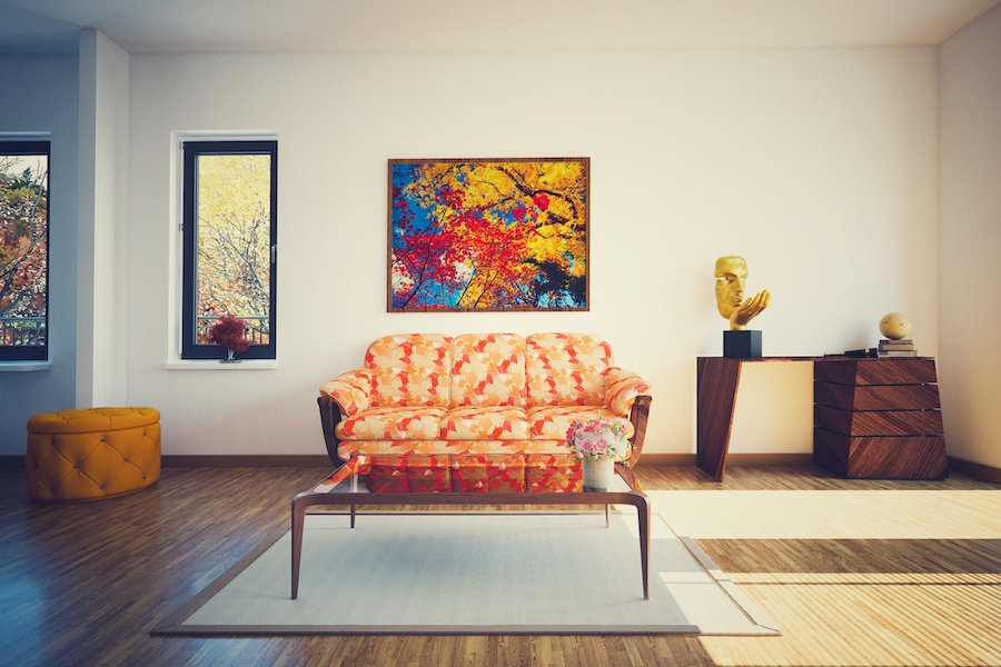 Cozy Autumn living room representing your home's fall indoor air quality