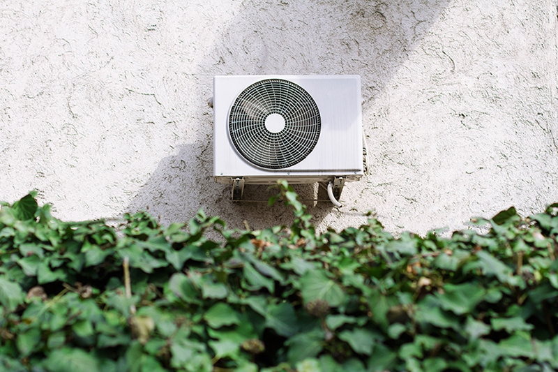 Air conditioning unit behind a decorative garden wall of green leaves, How Does Your Central Air Conditioner Cool Your Home? | Fisherville, VA