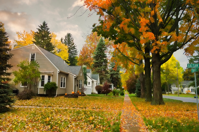 Quiet neighborhood in the fall with orange & yellow leaves on the front lawns, Fall HVAC Maintenance | Furnace, Boiler, Heat Pump | Fisherville, VA